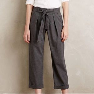Anthropologie Grey High-waisted Belted Trousers